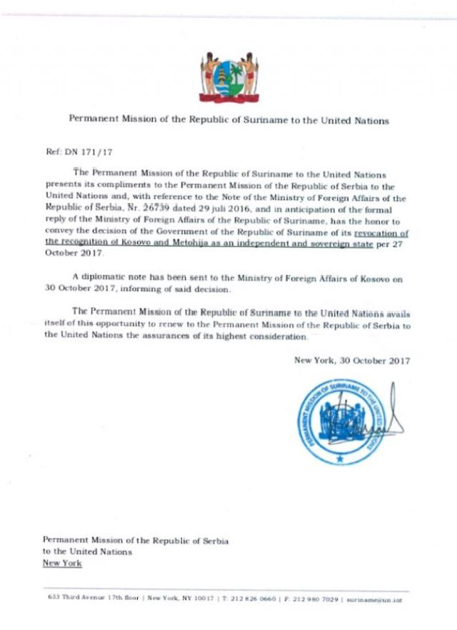 Suriname's diplomatic note