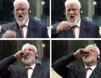 Slobodan Praljak is seen 'drinking poison' (EPA/ICTY)
