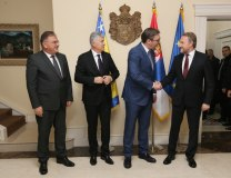 Vucic and BiH Presidency members are seen in Belgrade late on Tuesday (Tanjug)
