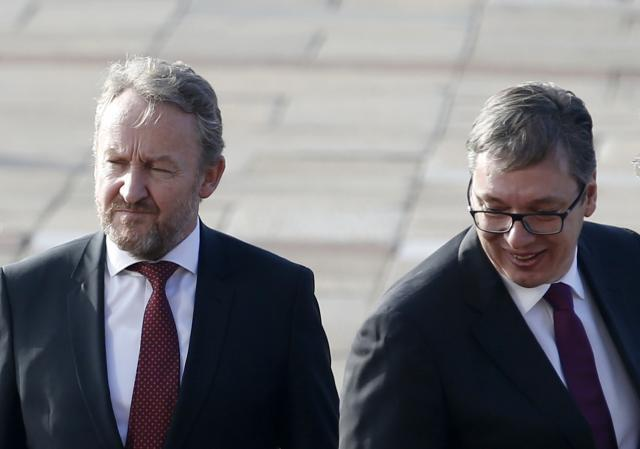Izetbegovic and Vucic are seen earlier in the day on Wednesday in Belgrade (Tanjug)