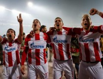 Red Star players celebrate in Belgrade on Thursday evening (StarSport)