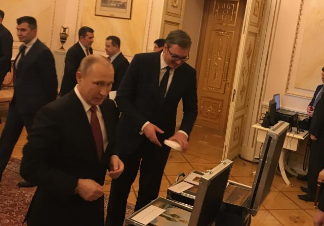 Putin and Vucic are seen in Moscow last week (Serbian President's Office, file)
