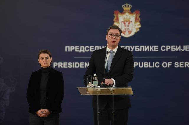 Vucic addresses reporters in Belgrade on Tuesday (Tanjug)