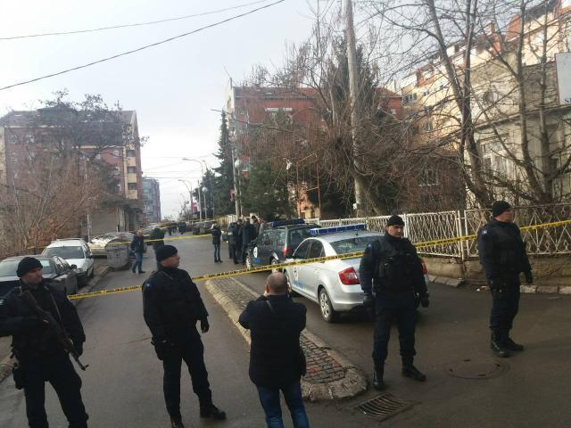 Kosovo police are seen near the scene of the crime on Tuesday (B92)