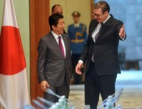 Shinzo Abe is seen in Belgrade earlier this month with Serbian President Aleksandar Vucic (Tanjug, file)