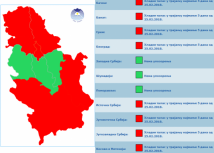 Red indicates the parts of Serbia that will be affected by the cold wave (screen capture)