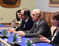 Muiznieks (c) is seen during a meeting at the Serbian Interior Ministry in Belgrade (Tanjug)