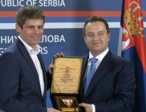 Gouillon (L) is seen with Serbian FM Dacic (Tanjug)