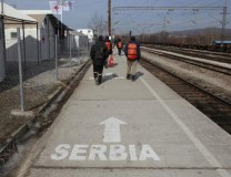 This February 2016 photo shows migrants crossing into Serbia from Macedonia (Tanjug/AP, file, illustration purposes)