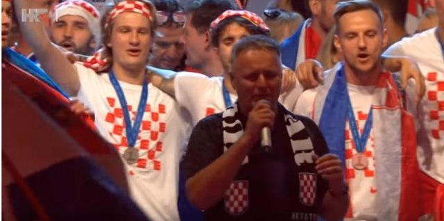 Marko Perkovic aka Thompson is seen celebrating in Zagreb with the Croatian football team (screen capture, YouTube)
