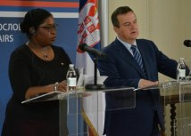 Dacic and Pollack-Beighle address reporters in Belgrade (Tanjug)