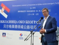 Vucic speaks at the construction site near Belgrade on Tuesday (Tanjug)