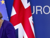 British PM Theresa May walks off the podium during an EU summit in Brussels (Tanjug/AP, file)