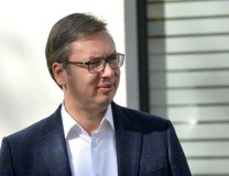 Vucic is seen at the KBC in Belgrade on Wednesday (Tanjug)