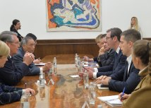 Vucic is seen meeting with Russian and Chinese ambassadors separately (Tanjug)