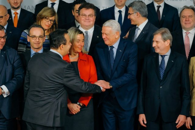 Dacic (L) is seen with EU officials during the gathering in Bucharest (Tanjug)