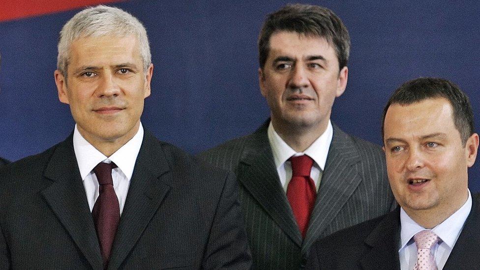 Akteri istorijskog pomirenja: Boris Tadić (levo) i Ivica Dačić (desno)/ANDREJ ISAKOVIC/AFP/Getty Images