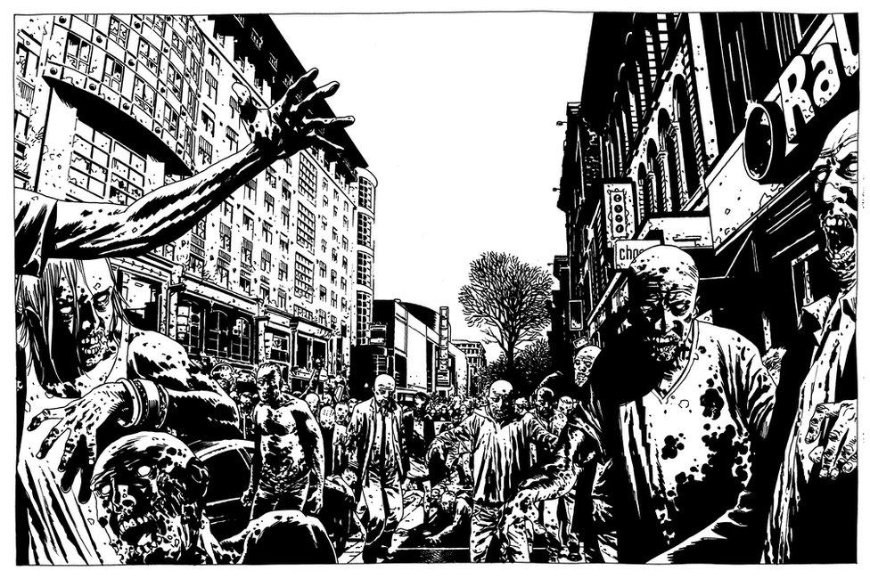 scena iz stripa Okružen mrtvima