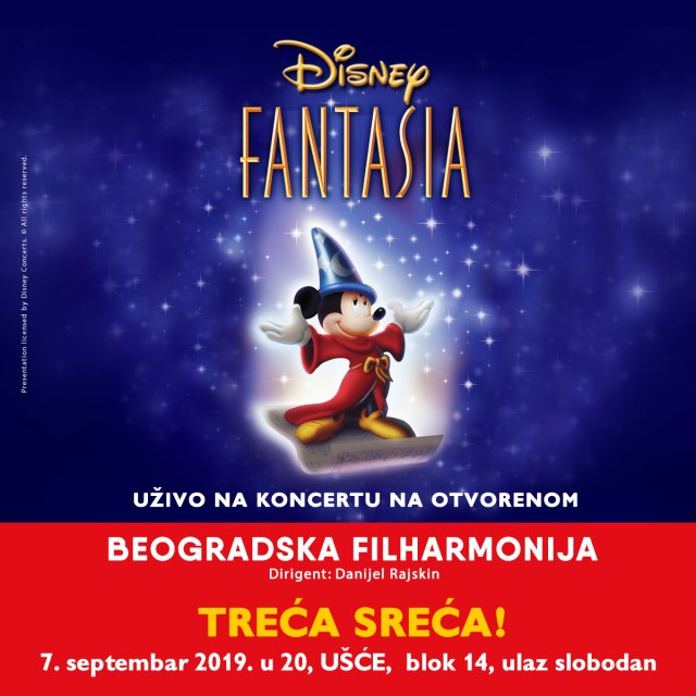 """Dizni fantazija"": Beogradska filharmonija na Ušću 7. septembra"