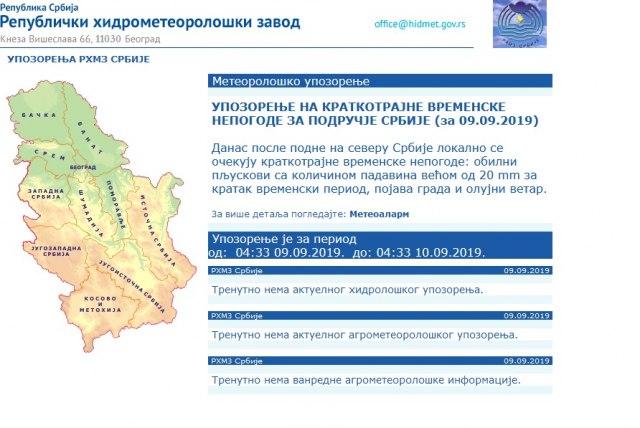 RHMZ izdao upozorenje i najavu: Za dva sata iz Slavonije stiže nevreme