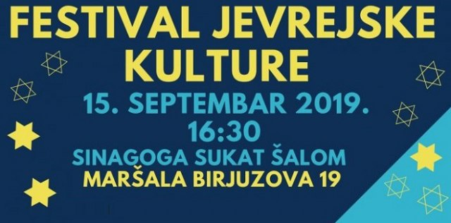 Festival jevrejske kulture 15. septembra u sinagogi