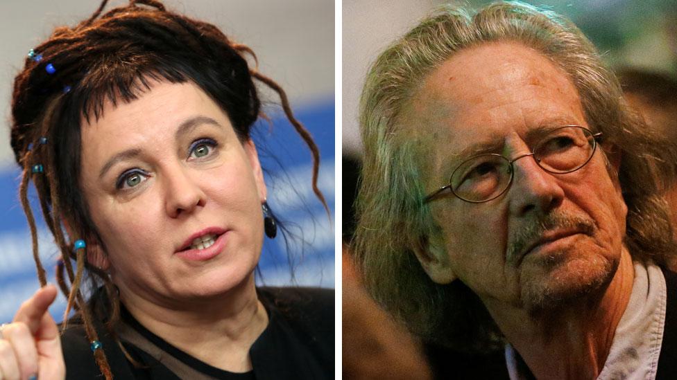 Handke je dobio Nobelovu nagradu za književnost za 2019. godinu, a poljska spisateljica Olga Tokarčuk za 2018. Nagrada prošle godine nije dodeljena zbog skandala u Nobelovom komitetu./Reuters