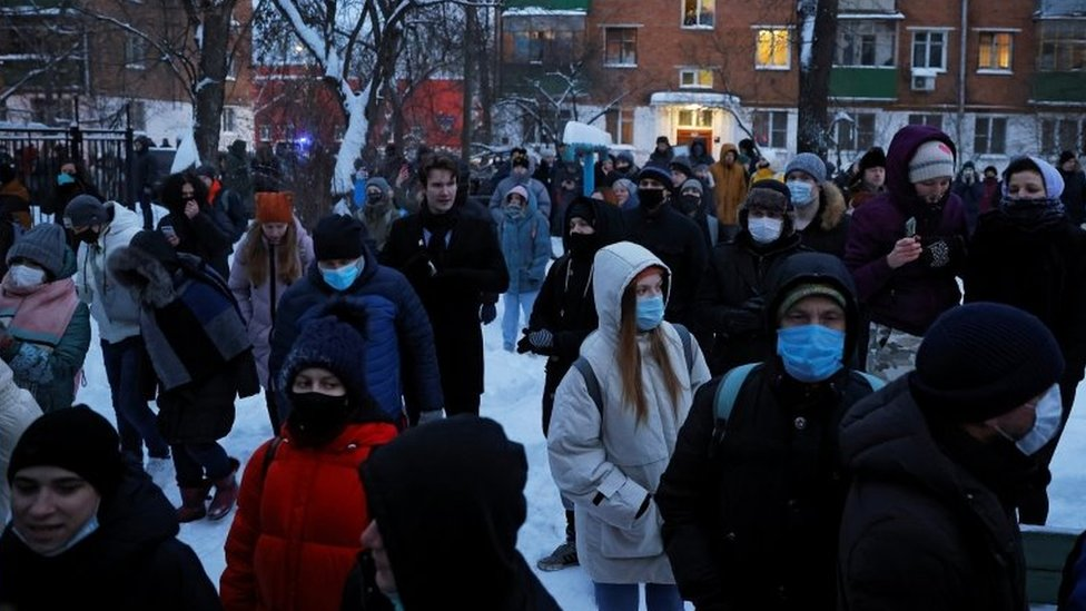 Dozens of people gathered outside the Khimki police station in freezing weather, demanding for Mr Navalny to be released/Reuters