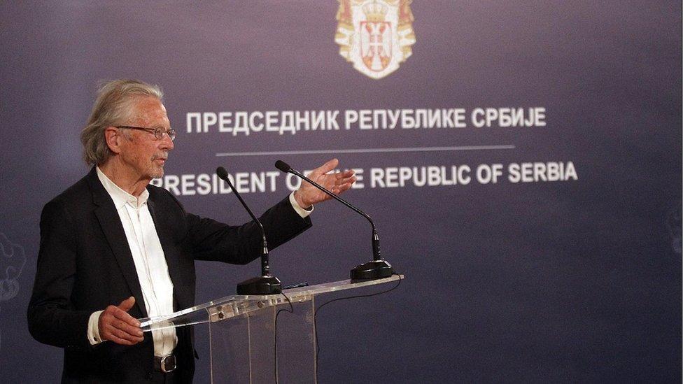 Peter Handke u Beogradu, maj 2021./Fonet